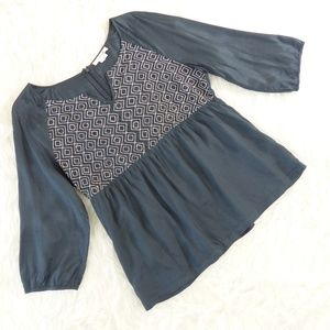 Boden Gray Embroidered Smocked Blouse